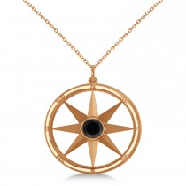 Black Diamond Compass Pendant Fashion Necklace 14k Rose Gold (0.66ct)