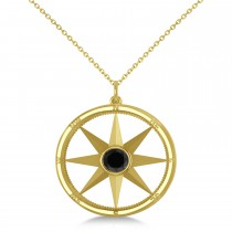 Black Diamond Compass Pendant Fashion Necklace 14k Yellow Gold (0.66ct)