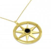 Black Diamond Compass Pendant Fashion Necklace 14k Yellow Gold (0.66ct)