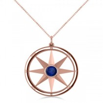 Blue Sapphire Compass Pendant Fashion Necklace 14k Rose Gold (0.66ct)