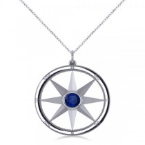 Blue Sapphire Compass Pendant Fashion Necklace 14k White Gold (0.66ct)