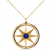 Blue Sapphire Compass Pendant Fashion Necklace 14k Yellow Gold (0.66ct)