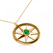 Emerald Gemstone Compass Pendant Necklace 14k Yellow Gold (0.66ct)