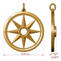Emerald Gemstone Compass Pendant Necklace 14k Yellow Gold (0.66ct)