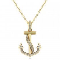 Diamond Ribbon Anchor Pendant Necklace 14K Yellow Gold (0.35ct)