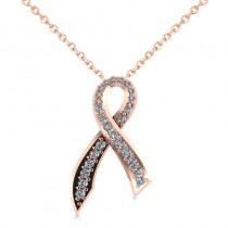 Awarness Ribbon Diamond Pendant Necklace 14k Rose Gold (0.28ct)