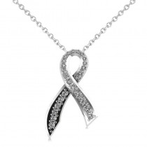 Awarness Ribbon Diamond Pendant Necklace 14k White Gold (0.28ct)