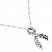Awarness Ribbon Diamond Pendant Necklace 14k White Gold (0.28ct)