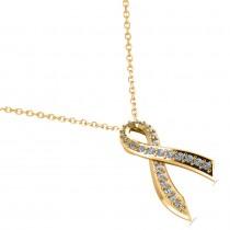 Awarness Ribbon Diamond Pendant Necklace 14k Yellow Gold (0.28ct)