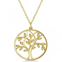 Large Diamond Tree of Life Pendant Necklace 14k Yellow Gold (0.15ct)