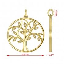 Large Diamond Tree of Life Pendant Necklace 14k Yellow Gold (0.15ct)