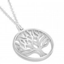 Family Tree of Life Pendant Necklace 14k White Gold