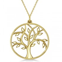 Tree of Life Pendant Necklace Plain Metal 14k Yellow Gold