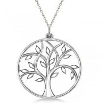 Family Tree of Life Pendant Necklace Plain Metal 18k White Gold