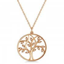 Medium Diamond Tree of Life Pendant Necklace 14k Rose Gold (0.08ct)