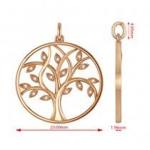 Medium Diamond Tree of Life Pendant Necklace 14k Rose Gold (0.08ct)