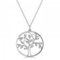 Medium Diamond Tree of Life Pendant Necklace 14k White Gold (0.08ct)