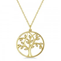 Medium Diamond Tree of Life Pendant Necklace 14k Yellow Gold (0.08ct)