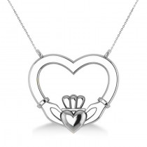 Double Heart Claddagh Pendant Necklace 14k White Gold