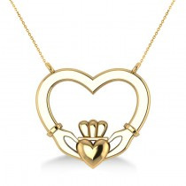 Double Heart Claddagh Pendant Necklace 14k Yellow Gold
