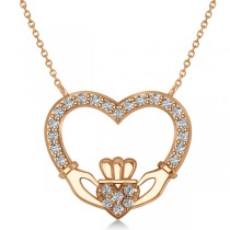Women's Diamond Irish Claddagh Necklace 14k Rose Gold (0.25ct)