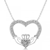 Women's Diamond Irish Claddagh Necklace 14k White Gold (0.25ct)