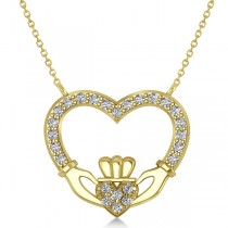 Women's Diamond Irish Claddagh Necklace 14k Yellow Gold (0.25ct)
