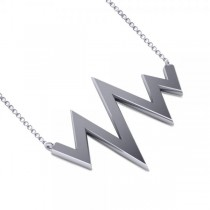 Heartbeat Pulse Vital Sign Pendant Necklace Plain Metal 14k White Gold