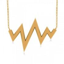 Heartbeat Pulse Vital Sign Pendant Necklace Plain Metal 14k White Gold