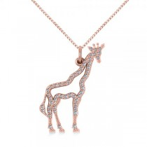 Diamond Giraffe Pendant Necklace 14k Rose Gold (0.26ct)