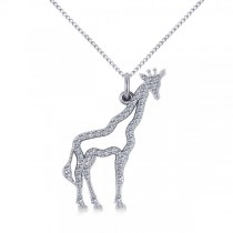 Diamond Giraffe Pendant Necklace 14k White Gold (0.26ct)