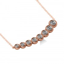 Graduated Diamond Curved Bar Pendant Necklace 14k Rose Gold (1.00ct)