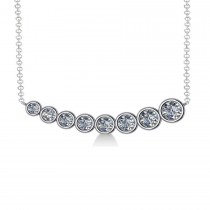Graduated Diamond Curved Bar Pendant Necklace 14k White Gold (1.00ct)