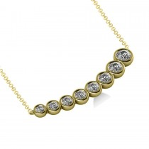 Graduated Diamond Curved Bar Pendant Necklace 14k Yellow Gold (1.00ct)