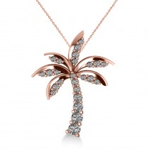 Diamond Tropical Palm Tree Pendant Necklace 14k Rose Gold (0.50ct)