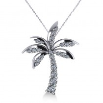 Diamond Tropical Palm Tree Pendant Necklace 14k White Gold (0.50ct)