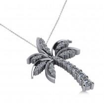 Diamond Tropical Palm Tree Pendant Necklace 14k White Gold (0.50ct)
