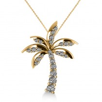 Diamond Tropical Palm Tree Pendant Necklace 14k Yellow Gold (0.50ct)