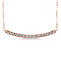 Curved Diamond Bar Pendant Necklace 14k Rose Gold (0.80ct)