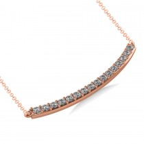 Curved Diamond Bar Pendant Necklace 14k Rose Gold (0.80ct)