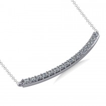 Curved Diamond Bar Pendant Necklace 14k White Gold (0.80ct)