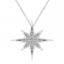 Diamond Adorned North Star Pendant Necklace 14k White Gold (0.17ct)