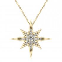 Diamond Adorned North Star Pendant Necklace 14k Yellow Gold (0.17ct)