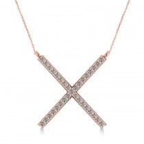 Diamond X Shaped Pendant Necklace in 14k Rose Gold (0.33ct)