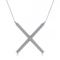 Diamond X Shaped Pendant Necklace in 14k White Gold (0.33ct)