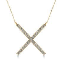 Diamond X Shaped Pendant Necklace in 14k Yellow Gold (0.33ct)