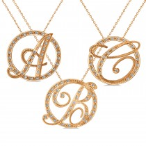 Diamond Circle Script Initials Pendant Necklace 14k Rose Gold