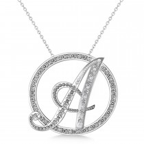 Diamond Circle Script Initials Pendant Necklace 14k White Gold