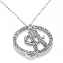 Diamond Circle Script Initials Pendant Necklace 14k White Gold