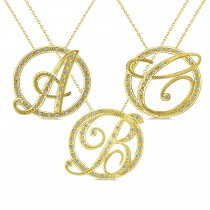 Diamond Circle Script Initials Pendant Necklace 14k Yellow Gold